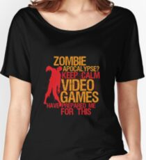 Keep Calm Zombie Apocalypse for Gaming Geek and Nerd Women's Relaxed Fit T-Shirt