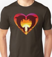 Love Dolphins - Sunset Heart Unisex T-Shirt