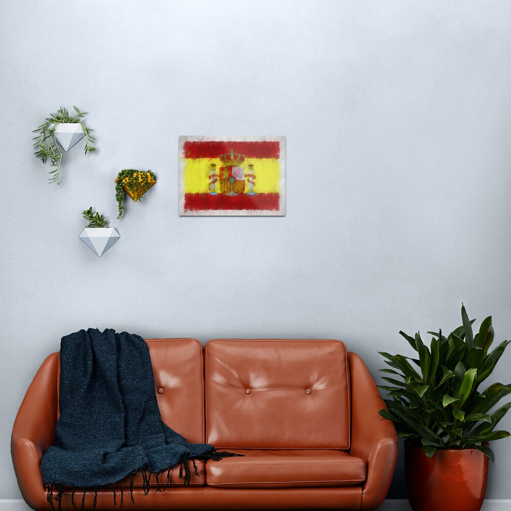 Spain Flag Reworked No. 66, Series 4 Metal Print