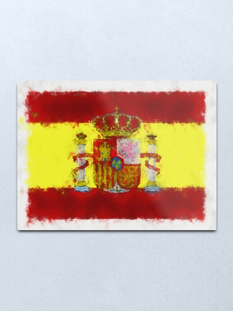 Alternate view of Spain Flag Reworked No. 66, Series 5 Metal Print