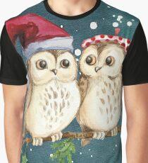 Camiseta gráfica buhos de la Navidad