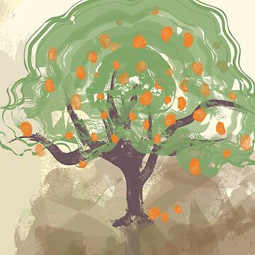 tree with fruits painting by kimtangdesign