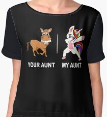 Your Aunt My Aunt Funny Cute dabbing Unicorn T-shirt  Women's Chiffon Top
