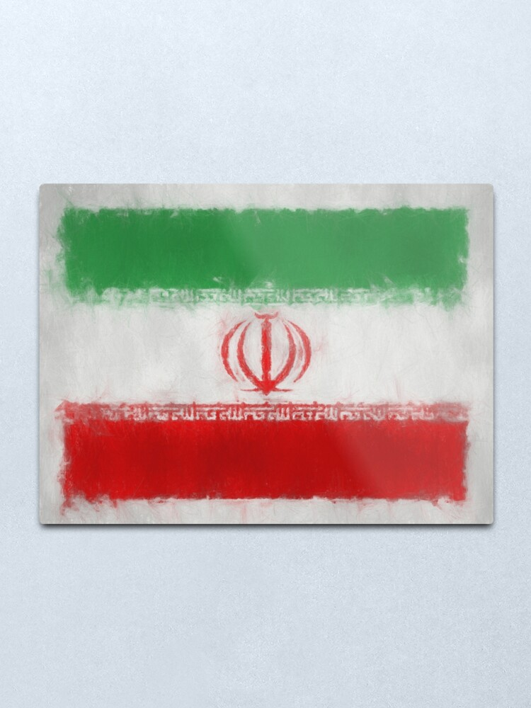 Alternate view of Iran Flag Reworked No. 66, Series 3 Metal Print
