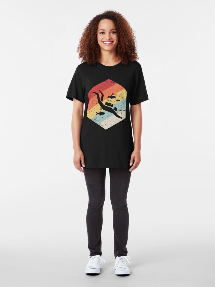 Alternative Ansicht von Retro 70er Jahre Scuba Diver Icon Slim Fit T-Shirt