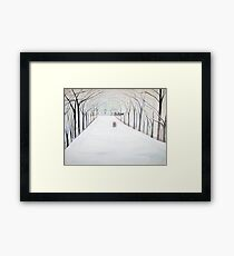 The  Silent Snowfall  Walk  /  Central  Park  NYC      Framed Print