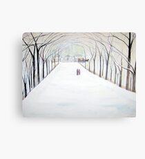 The  Silent Snowfall  Walk  /  Central  Park  NYC      Canvas Print
