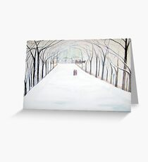 The  Silent Snowfall  Walk  /  Central  Park  NYC      Greeting Card