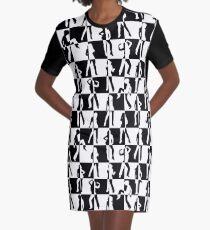 Black and White Checkerboard Retro 80s Disco Dancers Graphic T-Shirt Dress