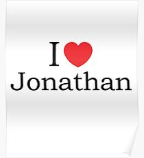 I Love Jonathan - With Simple Love Heart Poster