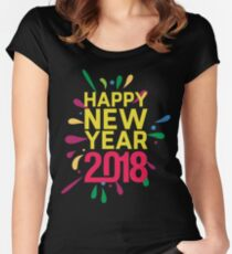 Happy New Year 2018 Women's Black New Year's Eve  Women's Fitted Scoop T-Shirt