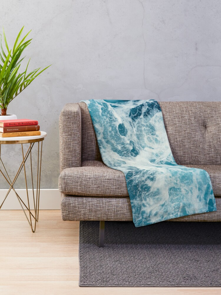 Alternate view of Sea Waves in the Ocean Throw Blanket