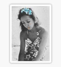 A Young Anais Nin with Blue Flowers Sticker