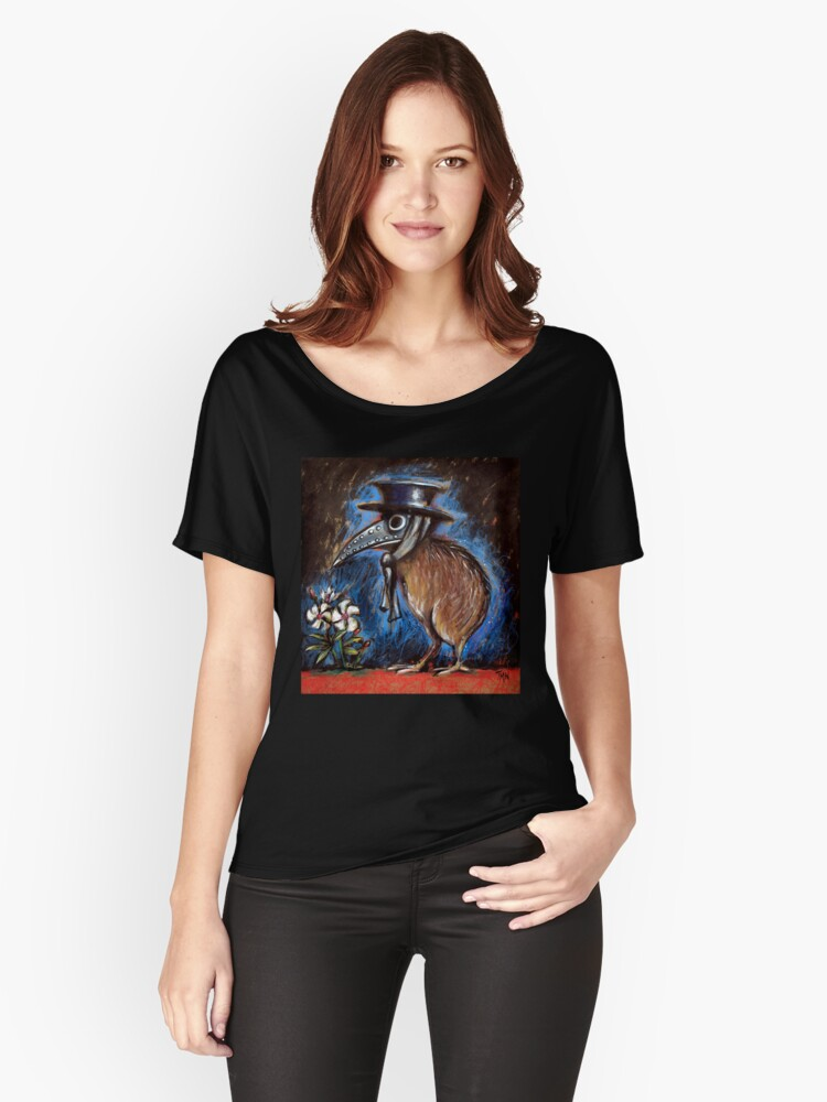 938bfae93575 Kiwi Plague Doctor with Deadly Oleanders Women s Relaxed Fit T-Shirt Front