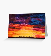 Autumn Sunset -  Large Abstract Sunset Oil Painting  Greeting Card