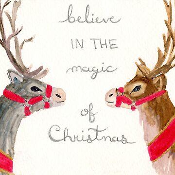 Santa's Reindeer by myartjourney