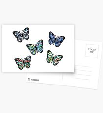 Cute Patterned, Flying Butterflies Pack of 5 Postcards