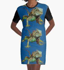 Vestido camiseta Iguana gráfica azul