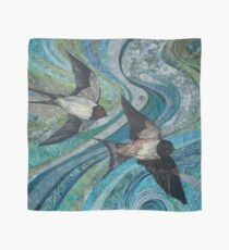Twisting & Turning - Swallows Embroidery - Textile Art Scarf