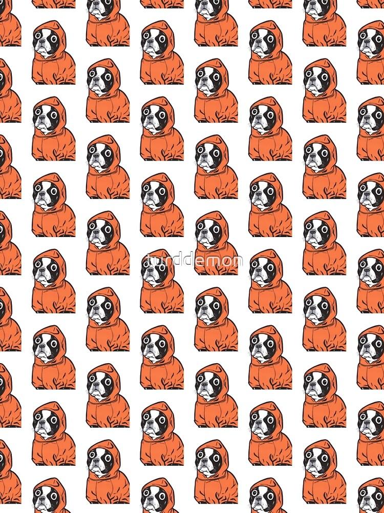Boston Terrier Orange Hoodie by turddemon