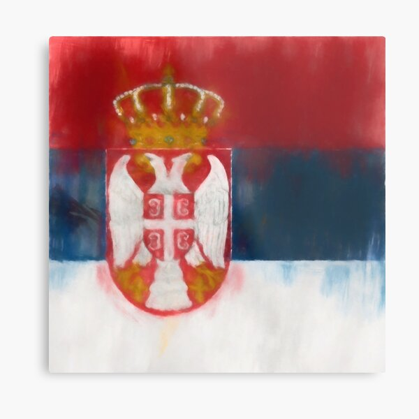 Serbia Flag Reworked No. 1, Series 1 Metal Print