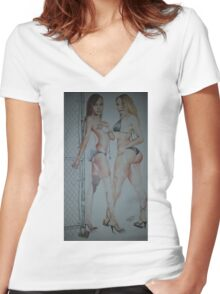 XXL Models Women's Fitted V-Neck T-Shirt