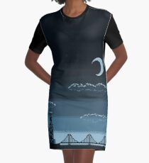 Pixel Art Cityscape Graphic T-Shirt Dress