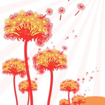 Orange Puff Flowers by emma60