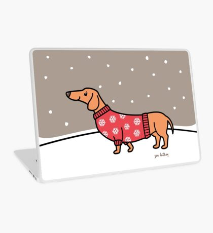 Christmas Dachshund in the Snow Laptop Skin