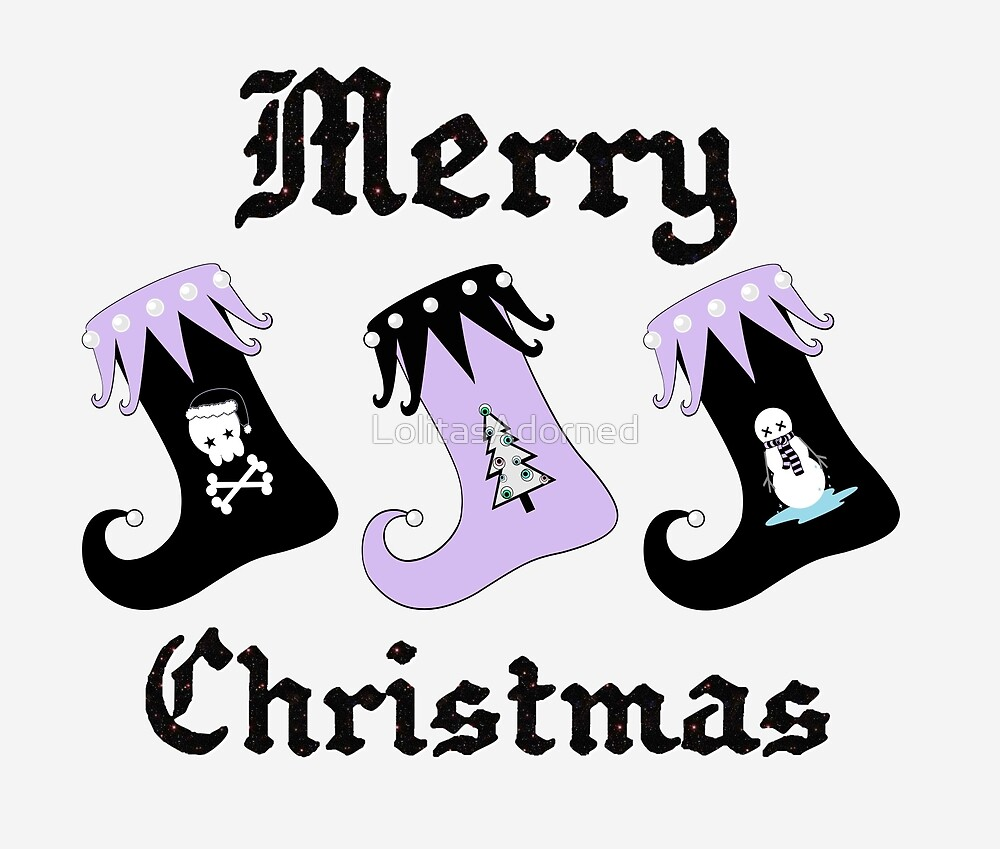 Merry Christmas Pastel Goth Elf Stockings by LolitasAdorned