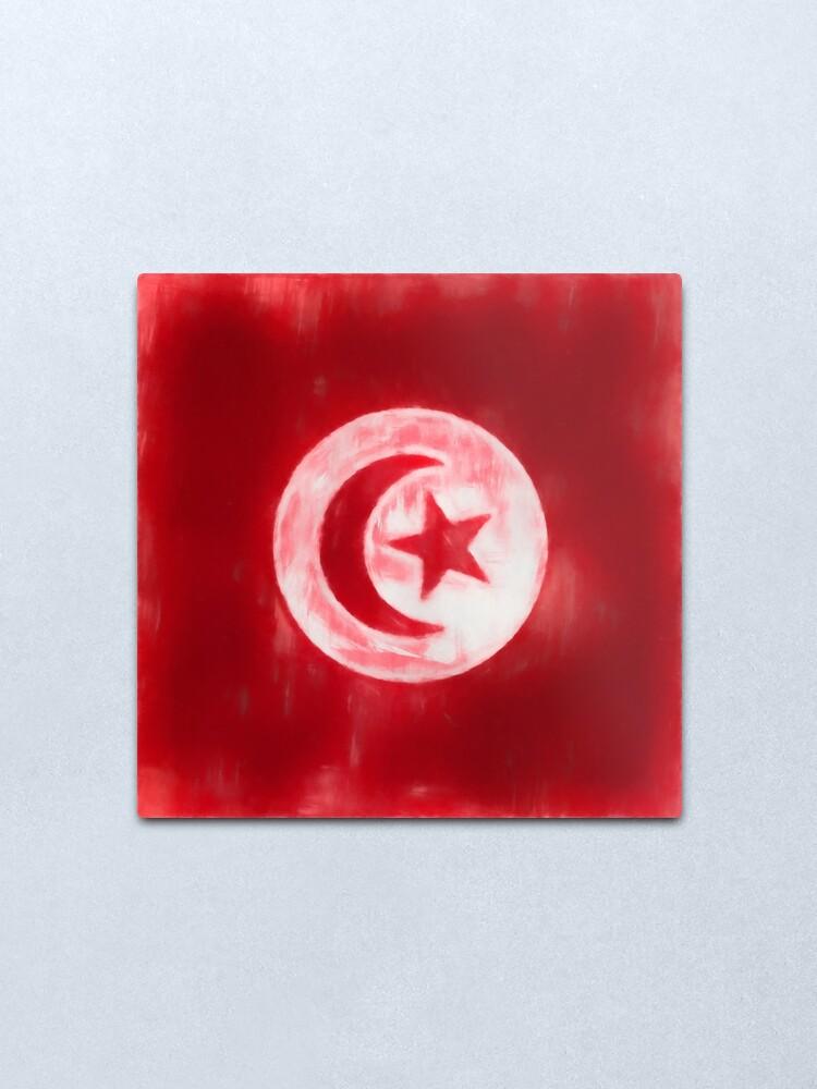 Alternate view of Tunisia Flag Reworked No. 1, Series 1 Metal Print