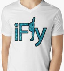 I FLY BLUE GLITTER V-Neck T-Shirt