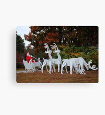 Santa Sleigh And Reindeer Canvas Print