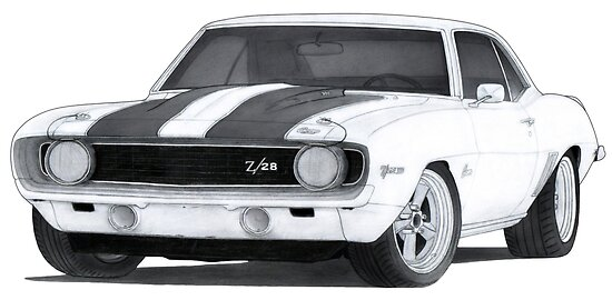 1969 Chevrolet Camaro Z28 Drawing Posters By Itsmeruva Redbubble
