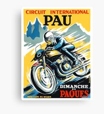 1950 Pau French Grand Prix Motorcycle Race Poster Canvas Print