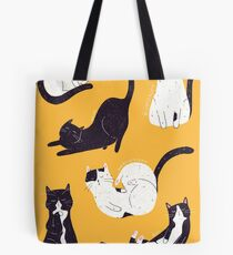 Outstanding Cats in Yellow Tote Bag