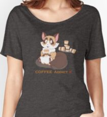Cat Coffee Addict Women's Relaxed Fit T-Shirt