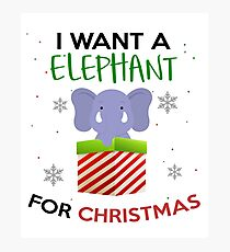 Elephant For Xmas Funny Gift  Photographic Print