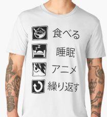 Funny Anime Shirt: Eat Sleep Anime Repeat  Men's Premium T-Shirt