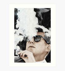 John F. Kennedy Zigarre und Sonnenbrille Kunstdruck