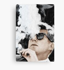 John F Kennedy Cigar And Sunglasses Canvas Print