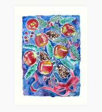 Watercolor Christmas Winter Apples Berries Fir Leaves Pinecones Art Print