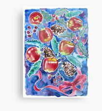 Watercolor Christmas Winter Apples Berries Fir Leaves Pinecones Metal Print