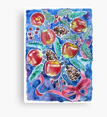 Watercolor Christmas Winter Apples Berries Fir Leaves Pinecones Canvas Print