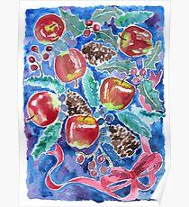 Watercolor Christmas Winter Apples Berries Fir Leaves Pinecones Poster