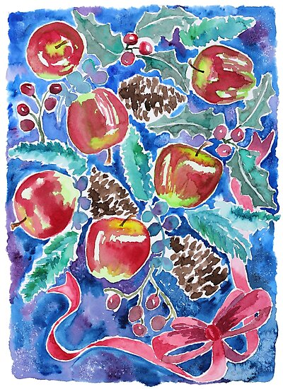 Watercolor Christmas Winter Apples Berries Fir Leaves Pinecones by Beverly Claire Kaiya