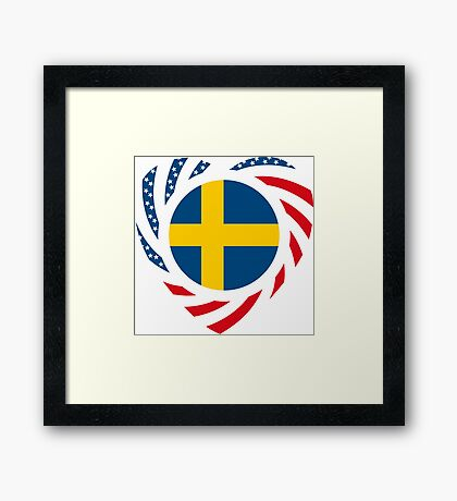 Swedish American Multinational Patriot Flag Series 2.0 Framed Print