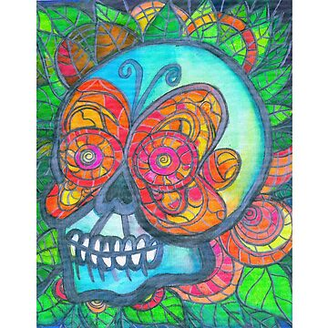 Colorful Tropical Calavera with Butterfly Mask by vivacandita