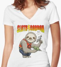 Cute Sloth Science Fiction Funny Gift Women's Fitted V-Neck T-Shirt