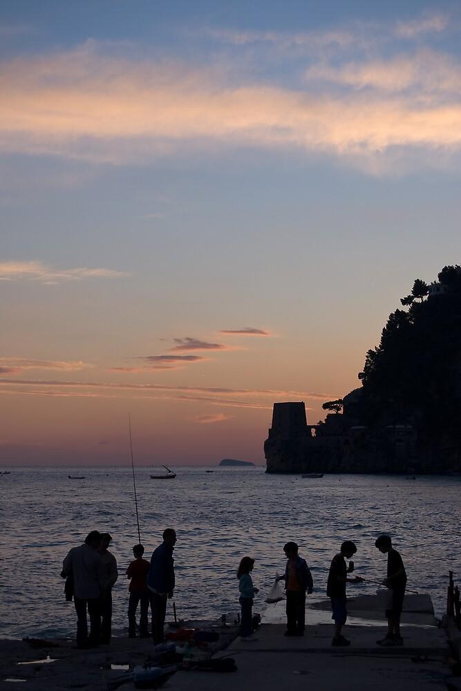 Fishing in Positano by Mauro Taraborelli